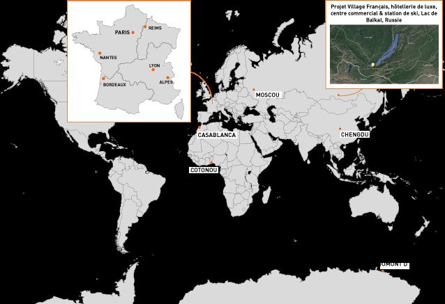 Agences du Groupe PHOSPHORIS autour du monde