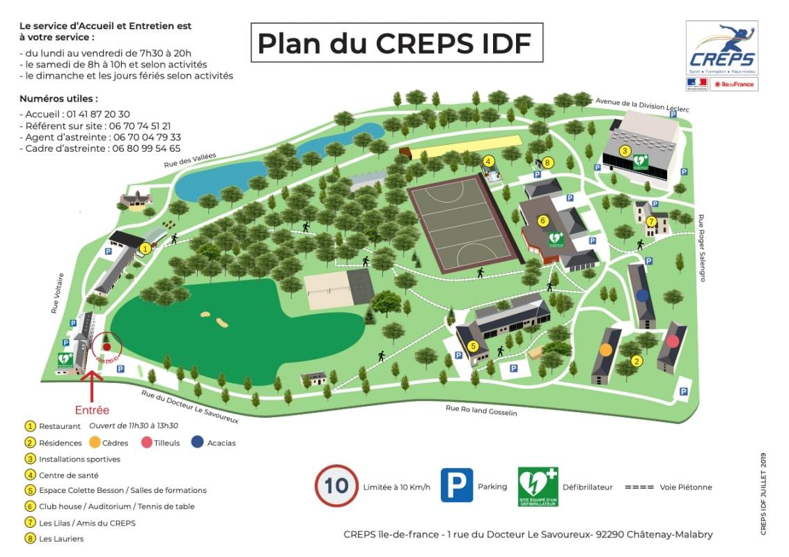 Plan du CREPS - Châtenay-Malabry